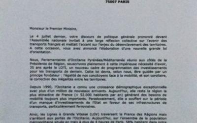 LGV Toulouse-Bordeaux : Lettre au Premier ministre
